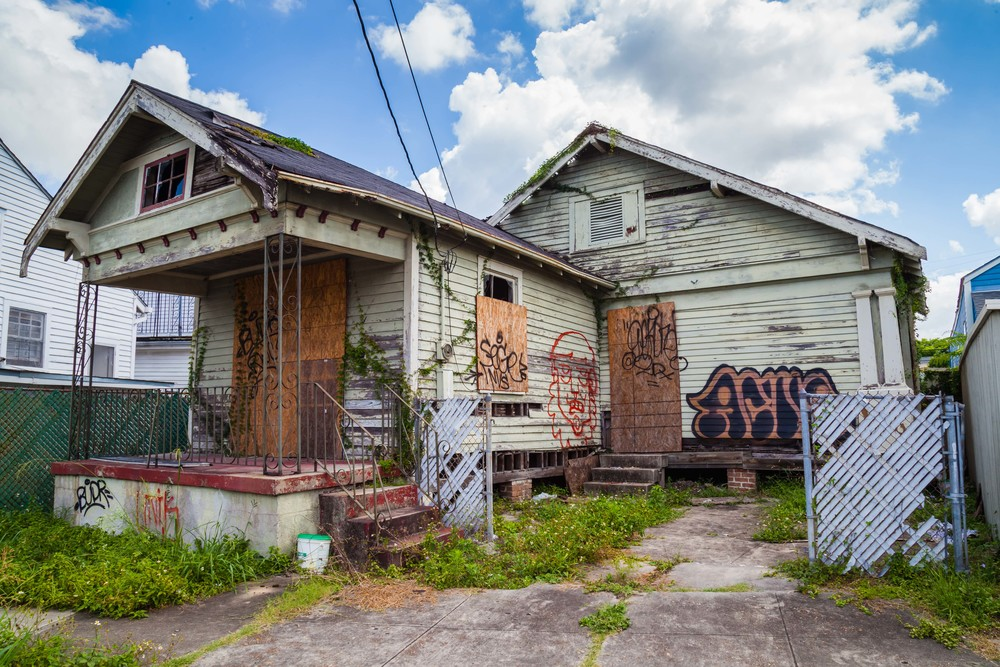 A house abandoned after Hurricane Katrina - an ecological disaster (one of many) still affecting the city of New Orleans.