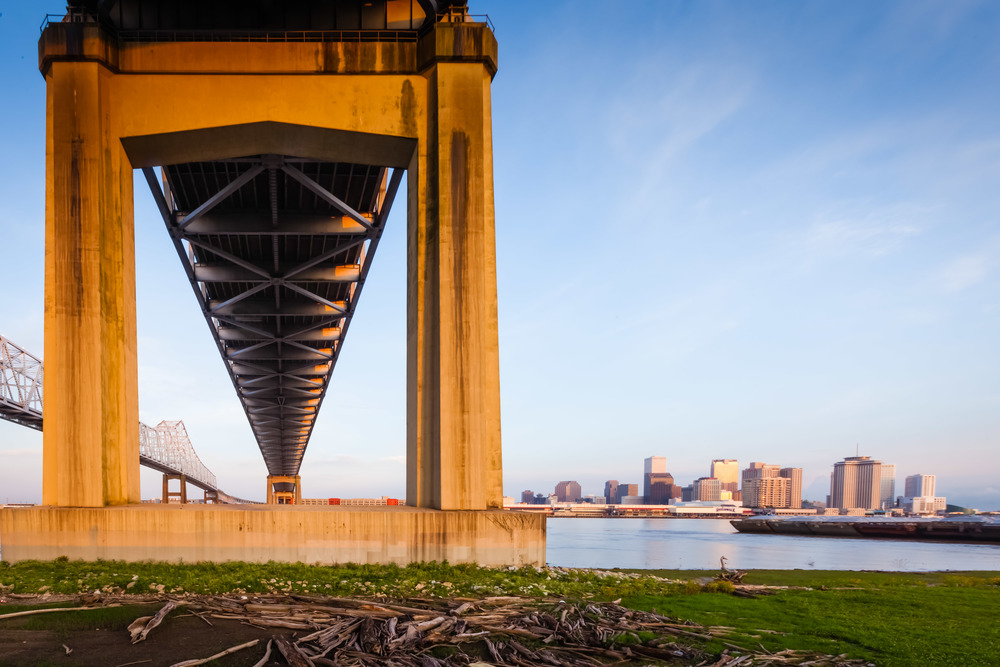 A look across the Mississippi at New Orleans. There are still a host of adverse conditions due to the Deepwater Horizon Oil Spill in 2010.