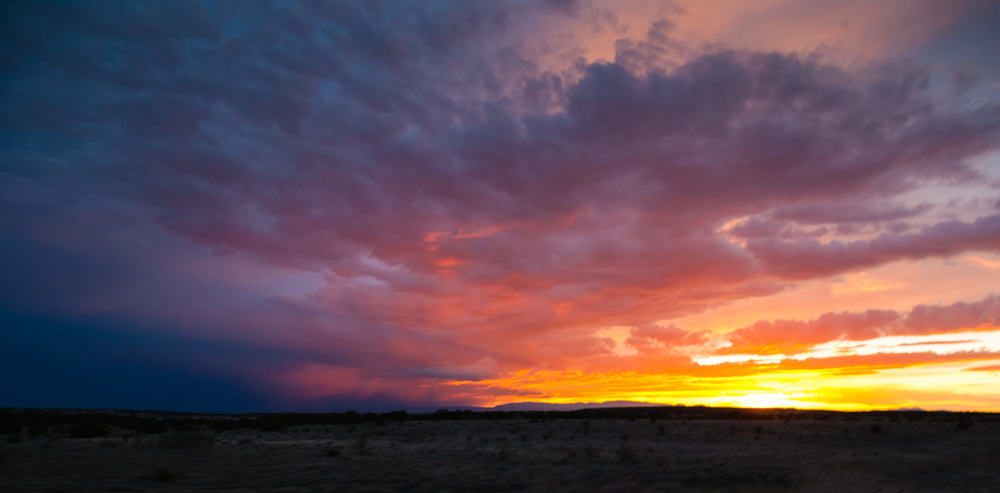 One of the most colorful sunsets I have ever seen,coming up onSanta Fe.
