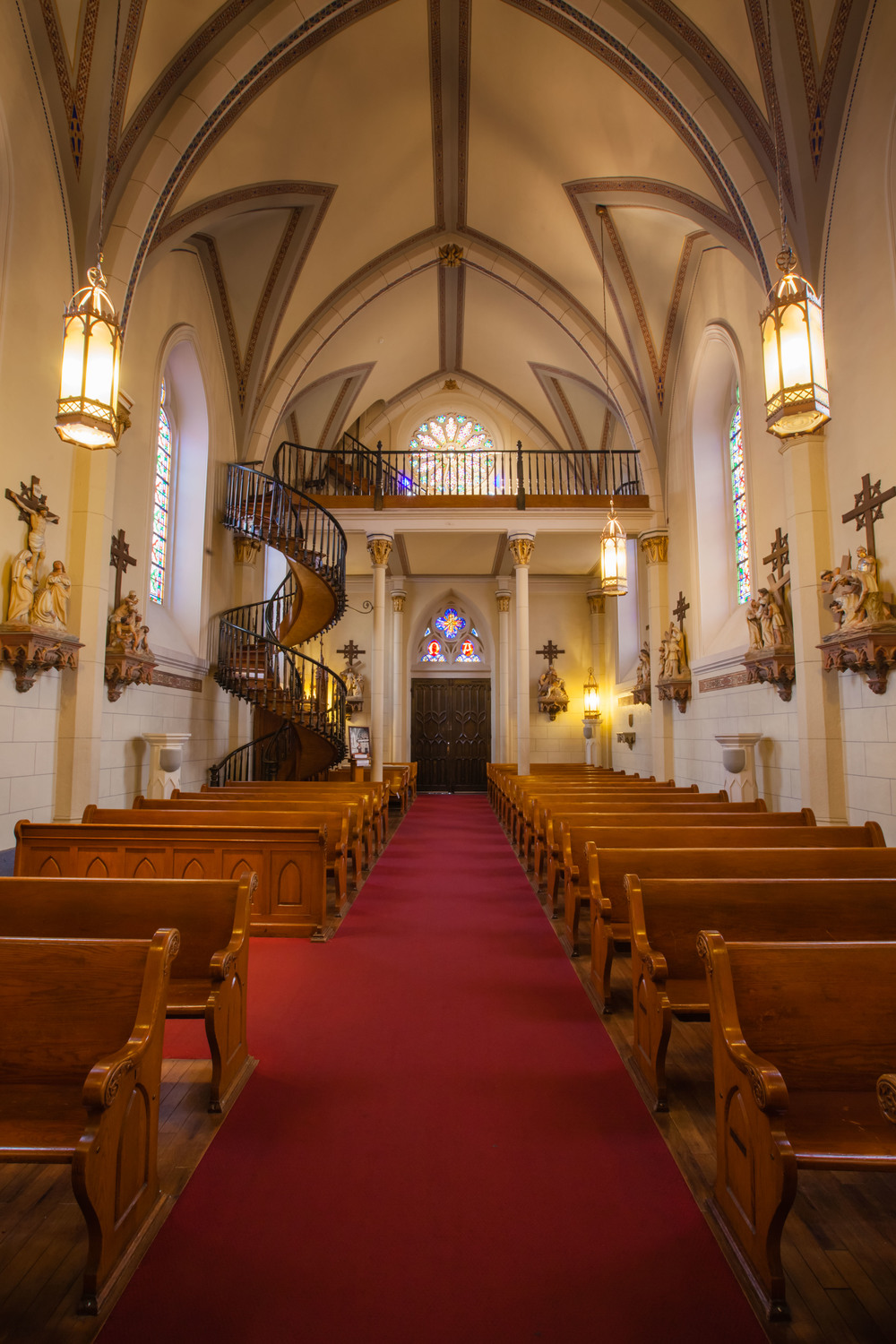 The Loretto Chapel in Santa Fe - the spiral stairs were built without nails or an apparent center support.