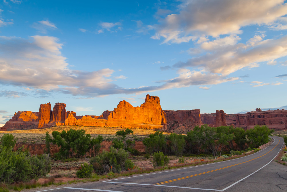 Sunset over the Courthouse Towers in Arches National Park, Utah.