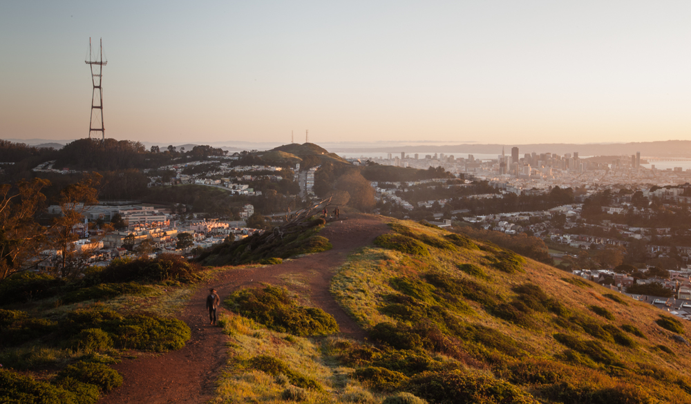 Sunrise looking into the city and at the Sutro Tower from Mt. Davidson.