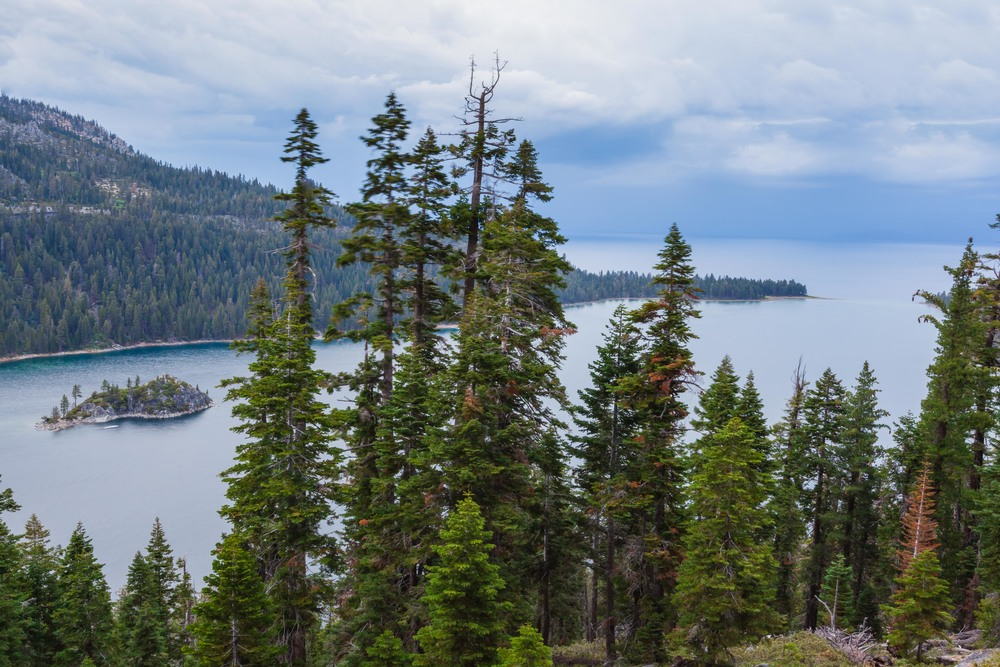 A look out from Inspiration Point, conveniently across the street from our campsite.  If you look towards the top-right side of the picture where Emerald Bay leads into Lake Tahoe - you can see how low the water levels are by the change in water color.