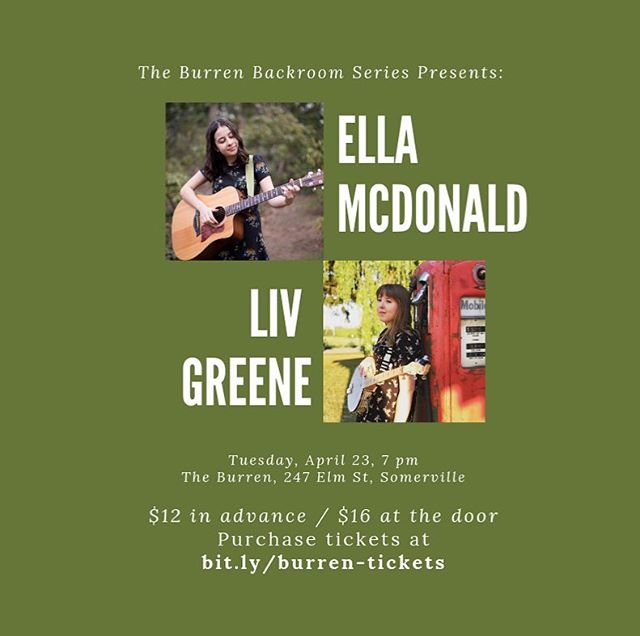BOSTON/TUFTS: I have a show two weeks from today at the Burren in Davis Square with @liv_greene_ !! I'm so excited to showcase all the new stuff I've been working on, and to share the stage with my incredible friend Liv! This show is ALL AGES and tickets will be significantly cheaper if you buy in advance, so snag some right now at the link in my bio! See you there! ✨