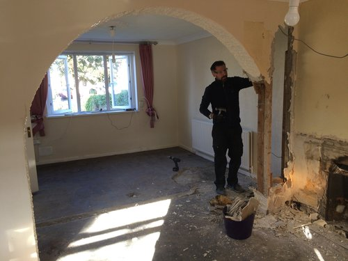 removed linoleum arch in the living room
