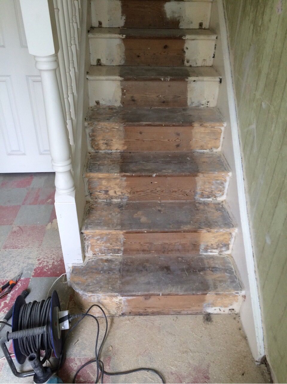 Stair Restoration   Removing The Layers Of White Paint On The Stairs