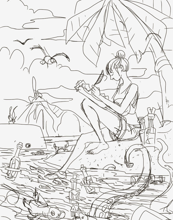 Here are the pencils before I inked them. You may notice some octopus tentacles that I later removed in place of some fish as it seemed to busy (and a little silly).