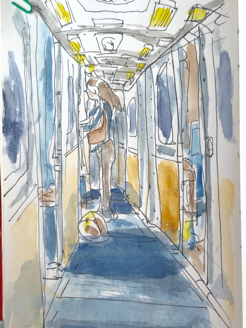 Quick sketch of train hallway.
