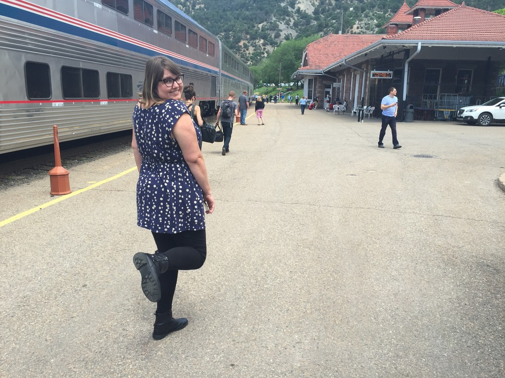 Julie on one of the many station platforms we hoped out at.