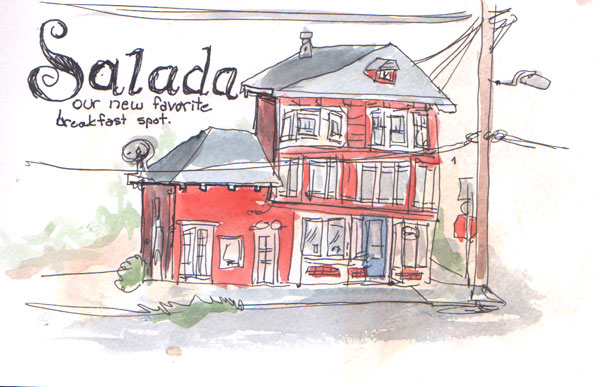 A sketch of Salada cafe when I first moved to Pacifica