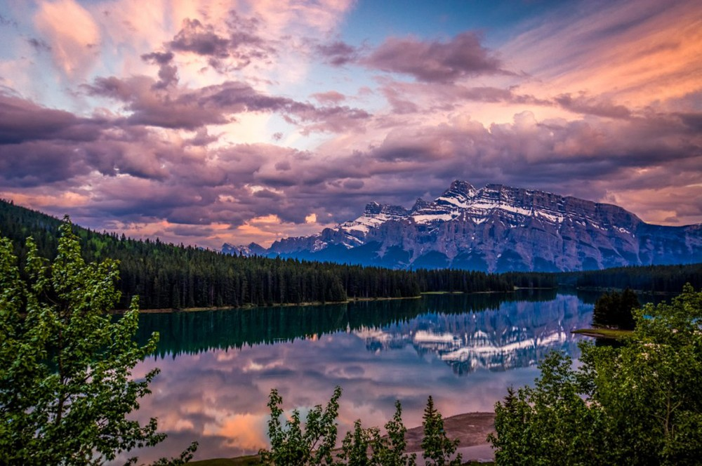 Sunset at Two Jack Lake in Banff National Park, Alberta.