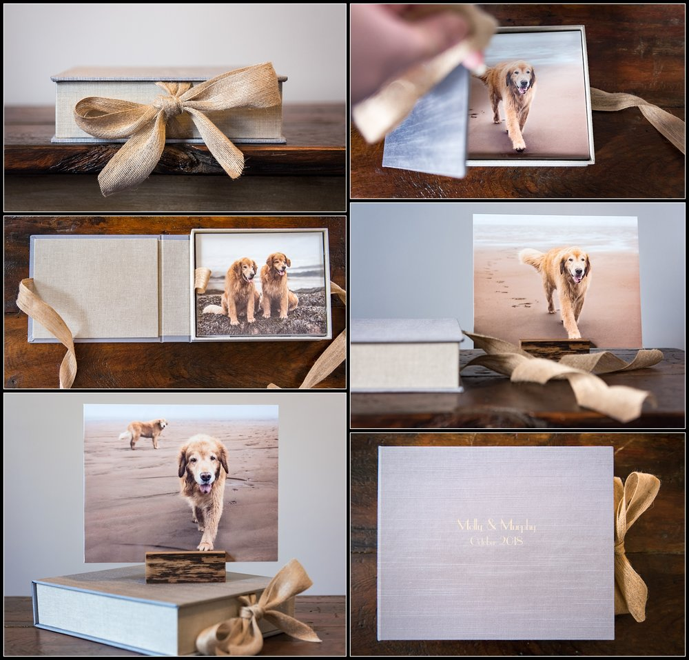 I'm so in love with the memory box I created for the owner of these Golden Retrievers. The blue/grey and sandy tones of the beach on a foggy day were a perfect match for the neutral/beachy decor in the home.