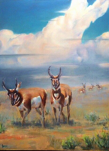 Antelope Landscape 30x40 Oil on Canvas