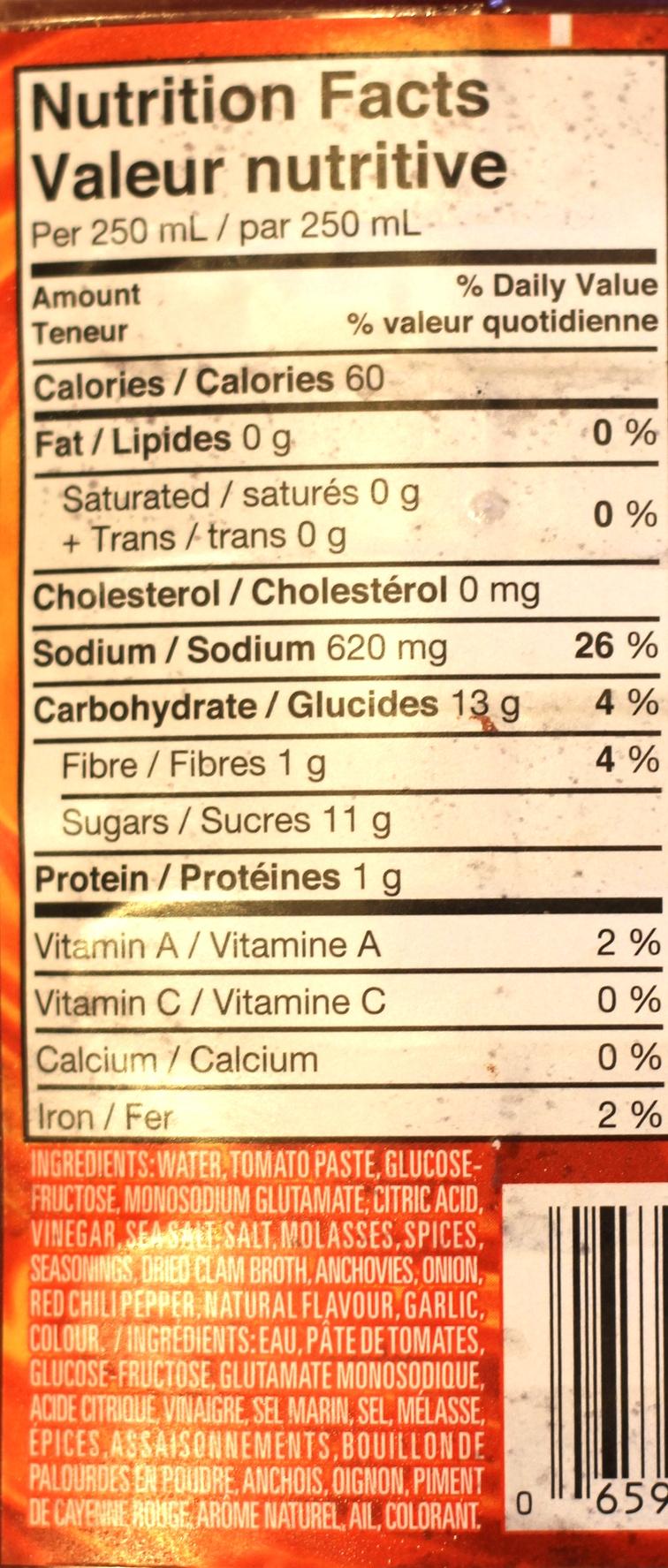 Mott's Clamato Nutrition Facts table