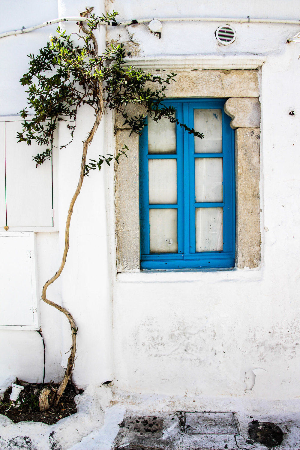Blue shutters, Mykonos, Greece.