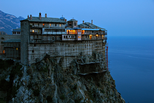 A Mount Athos monastery, from where Yordon emerges into the world.