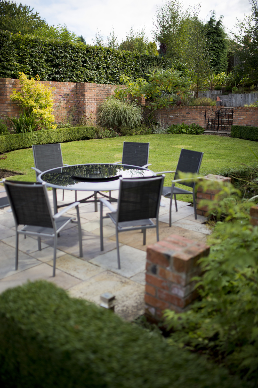 garden seating on sandstone patio