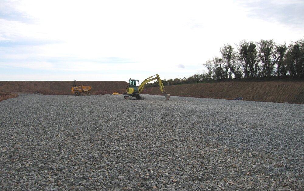 grading stone carpet for drainage at equestrian arena ireland