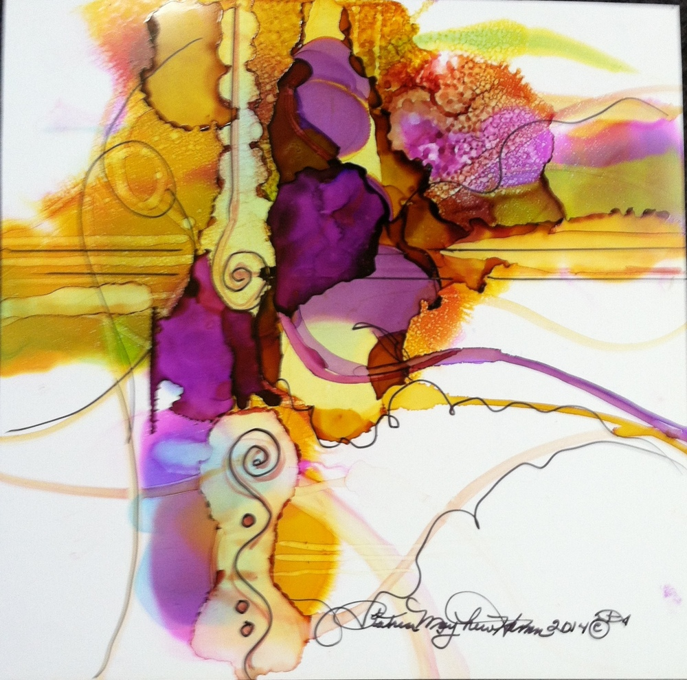"""Compliments"" Alcohol ink on Yupo; 16"" x 16"", $150. original sold. Prints available $50. unframed.                     012.830"