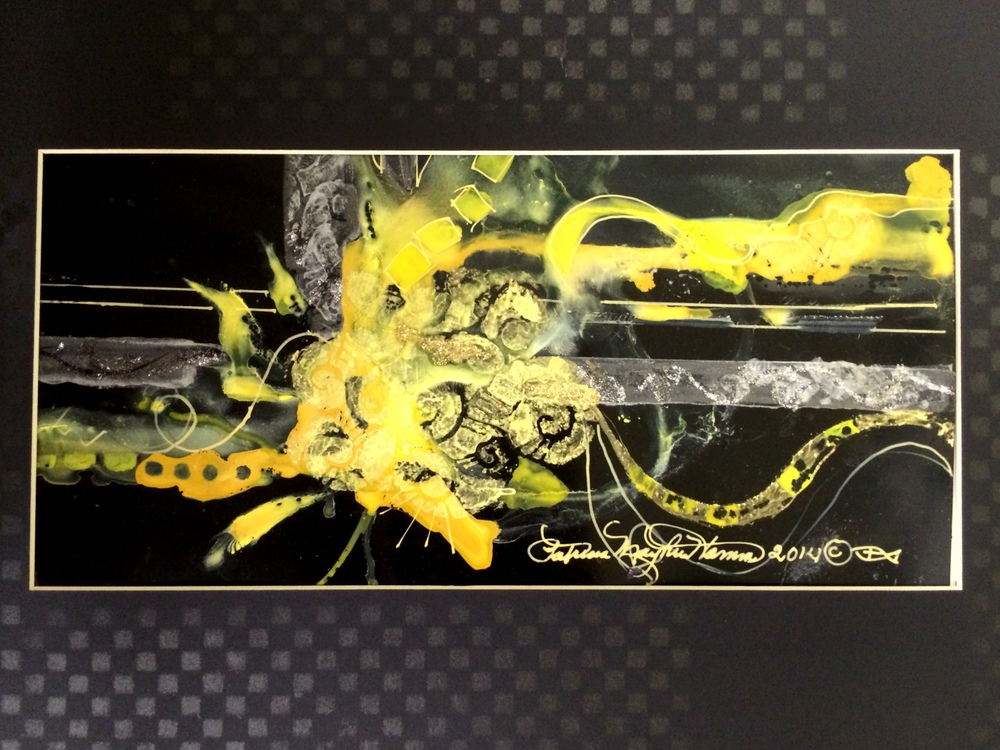 """A punch of yellow"" Watercolor, gouache, glitter, marker on black Yupo 12"" x 16"" $200. I do love brilliant yellow when complimented with black. I added the painting on the mat to finish. 044.873"