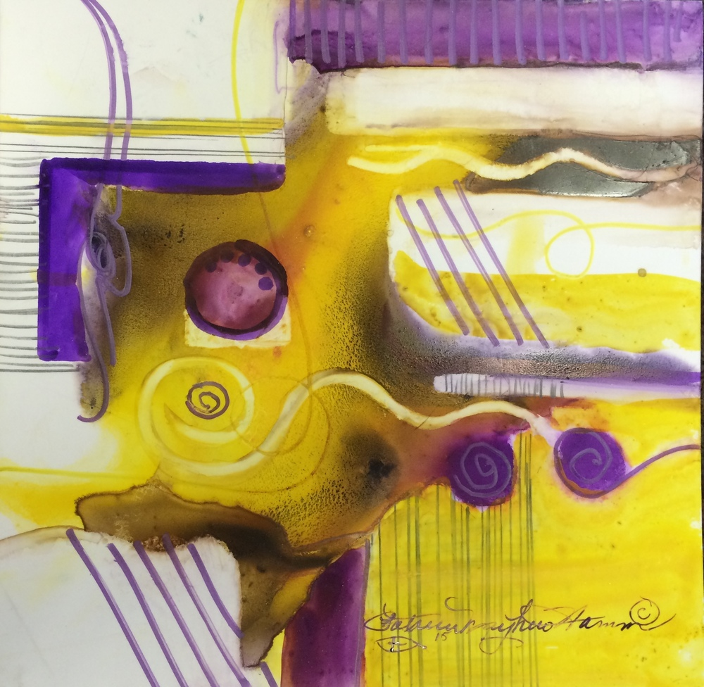 """Exchange of thoughts"" watercolor on Yupo, marker,12"" x 12"" $125. This bright yellow and purple abstract just seemed to have busyness, thoughts. 048.932"