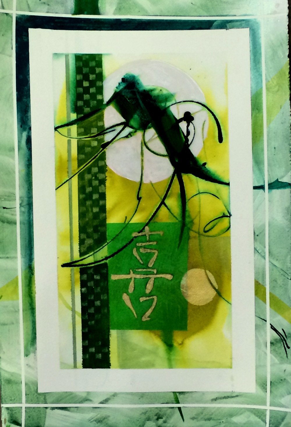 """Lucky Cricket"" Watercolor on paper, 20"" x 28"" $495. I was doing a demo for my students, and this image appeared. I found my cricket and we made him lucky.                                                                              062.890"