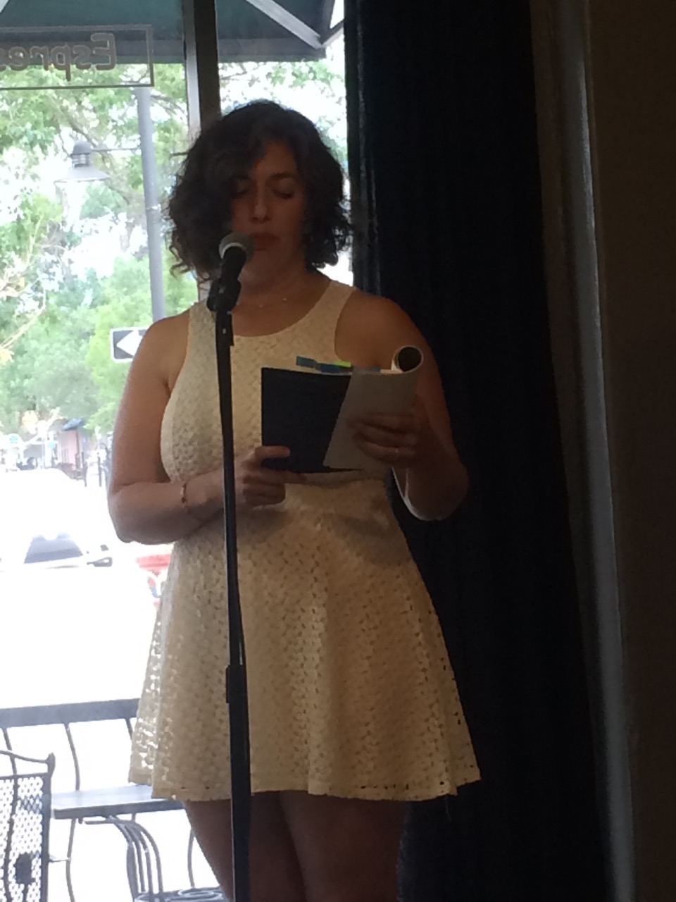Reading at Innisfree Poetry Bookstore and Cafe, Boulder, CO, July 2017