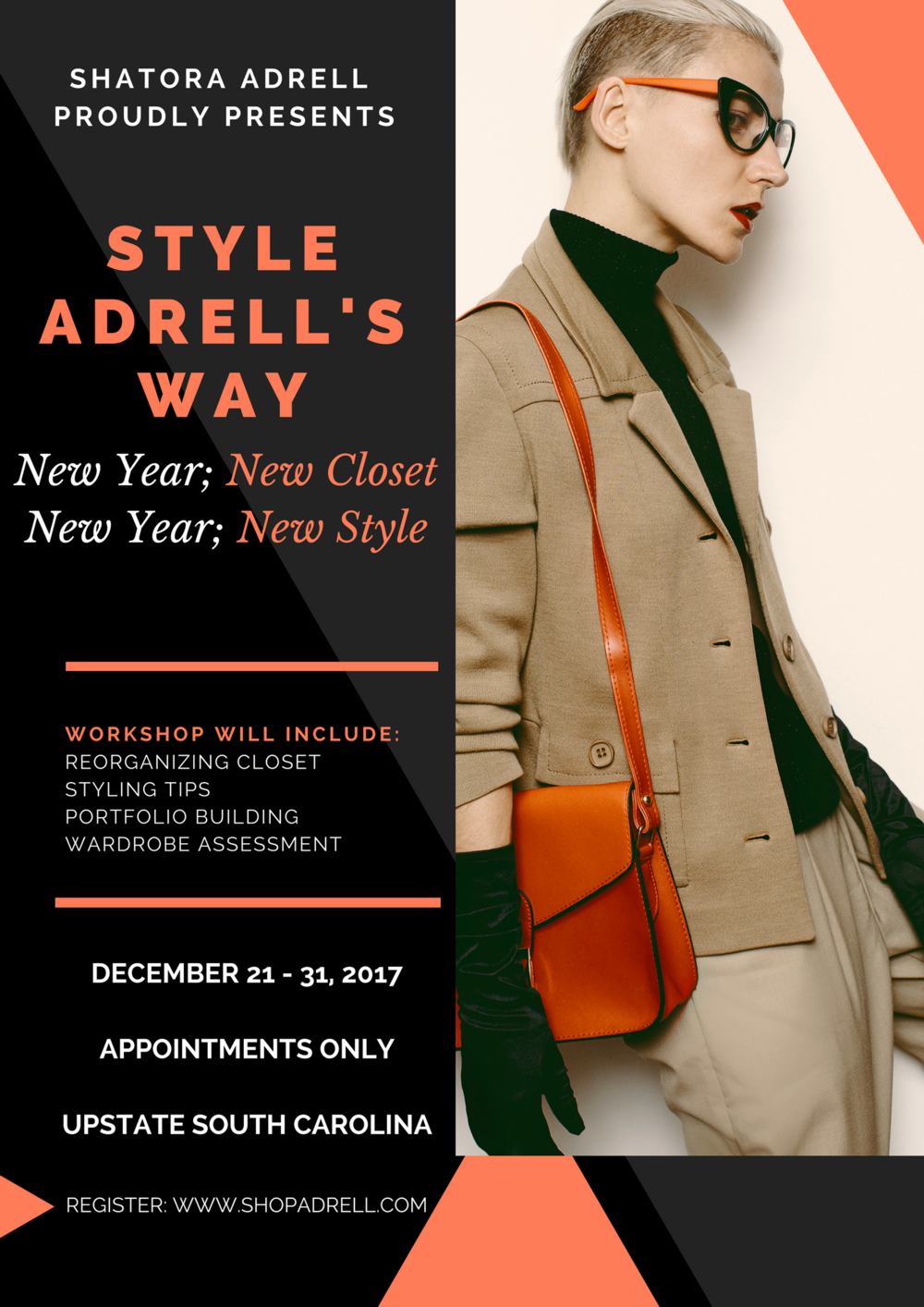 Style Adrell's Way is a 1-0n-1 session with Shatora Adrell where she comes in to either reorganize your closet, portfolio build, do a wardrobe assessment and/or go over styling tips. To Register:https://www.paypal.me/ShatoraAdrell Everything starts at: Reorganizing Closet: $100 and up Styling Tips: $50 and up Portfolio Building: $50 and up Wardrobe Assessment: $50 and up