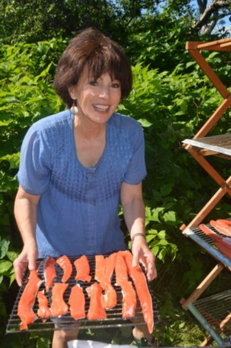 leslie with smoked salmon--in blue top.JPG