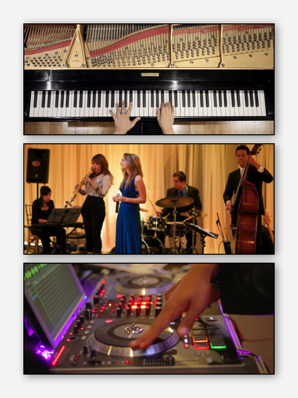 5 Piece Band +DJ(6 Hours)_______________ - CEREMONY: Solo KeysCOCKTAIL HOUR: Jazz TrioRECEPTION:5 Piece Band < 2Hrs Professional DJ Set < 3Hrs ________________________Great for those looking at combining the elegance of Jazz club dining and disco dancing, all in one room! $5350 + Travels
