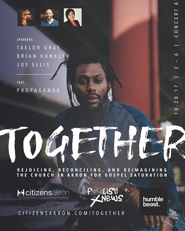 Humble Beast's very own @prophiphop will be in Cleveland/Akron tomorrow. Hit the bio link for tix & info 🤙🏼 // S/O to the homie @foolishxnews and Citizens Church for all the hard work putting this on for the city 👊🏼💢
