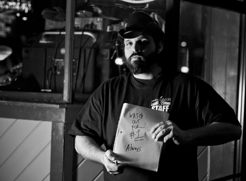 "Brian Anderson, a sidewalk bouncer at Legends Corner bar in Nashville, was the quickest to think of a quote with this project. ""If you can't take care number 1 (yourself) then you can't take care of anything else."""