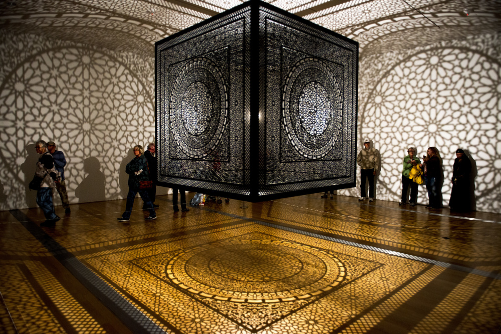 'Intersections', an art piece created by Anila Quayyum Agha is shown on display at the Grand Rapids Art Museum during the 2014 ArtPrize art competition which takes places yearly throughout the city of Grand Rapids, Michigan. With over 1,500 entries in this years competition, spread throughout over 170 venues in downtown Grand Rapids, 19 of them will be shown at the Grand Rapids Art Museum.
