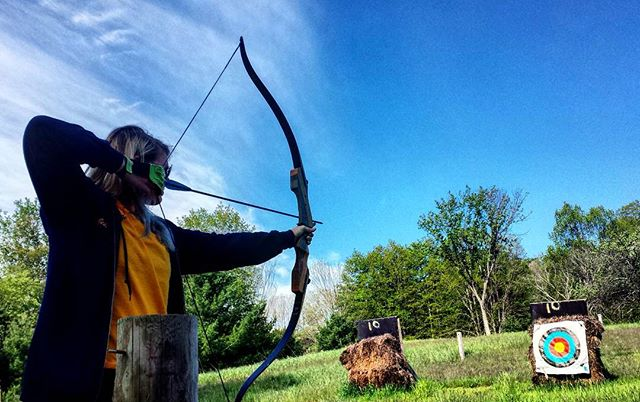 Bows, arrows and blue skies.  Life is good when all your attention can be dedicated to those three things.  #archery #getoutside #walloon #michigan #campmichigania #summer #walloonlake #stickbow