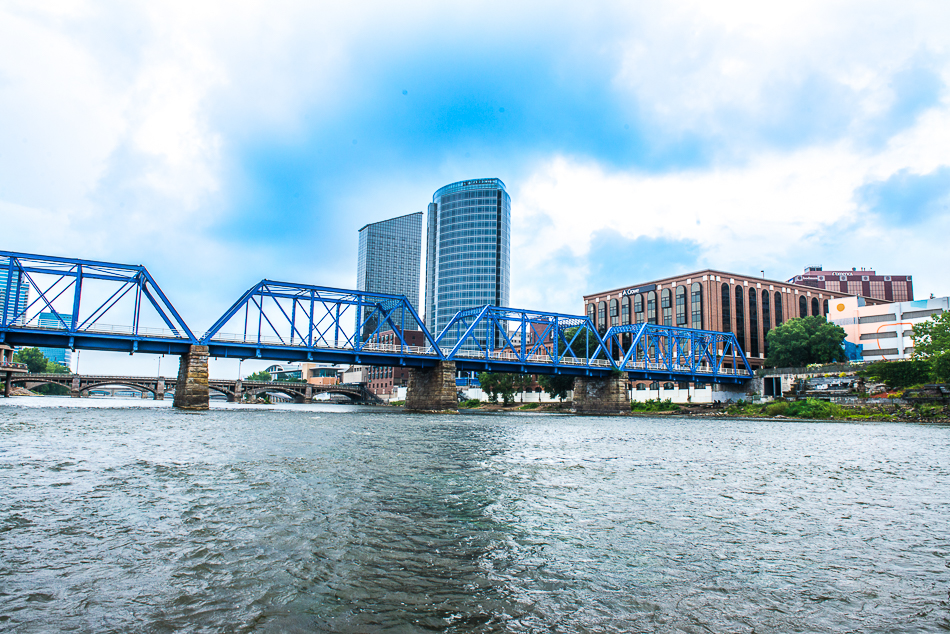 A unique middle-of-the-river view of Downtown Grand Rapids.