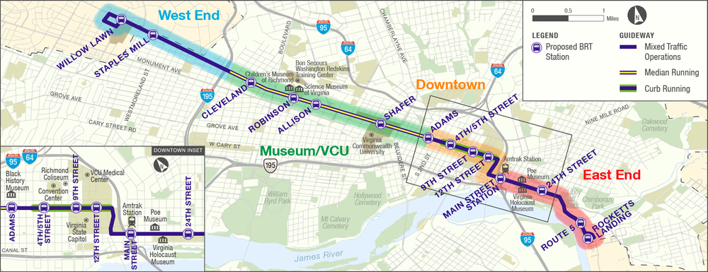 The latest map of the Broad Street BRT from GRTC.