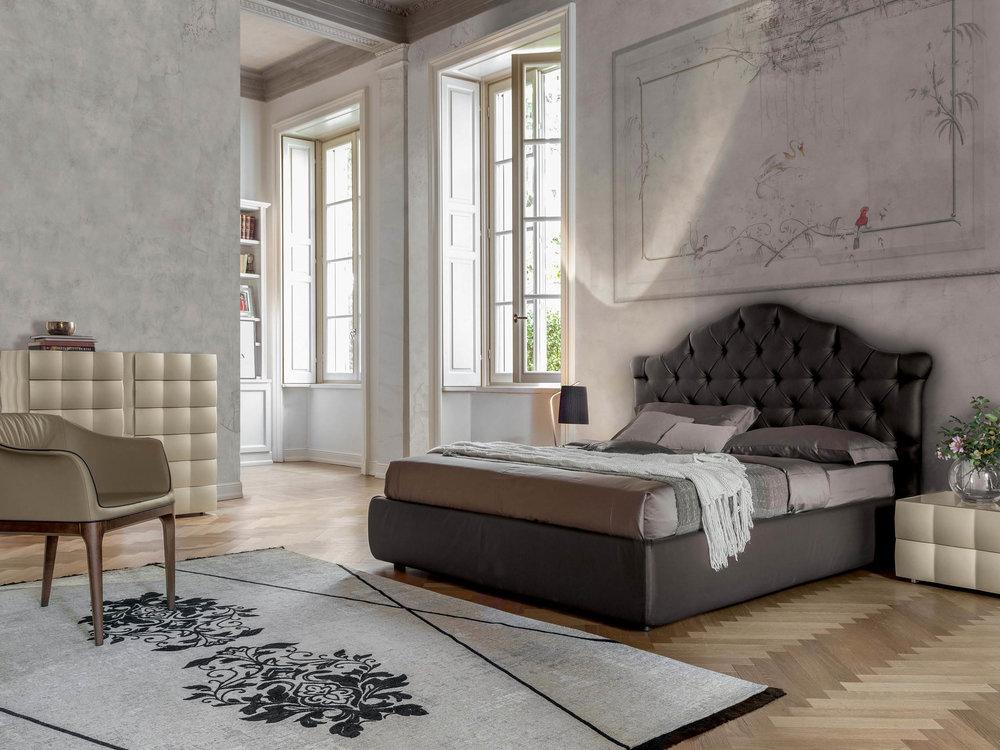 Veneziano Bed & Venice Night Wardrobe+Nightstand with Mivida Armchair +