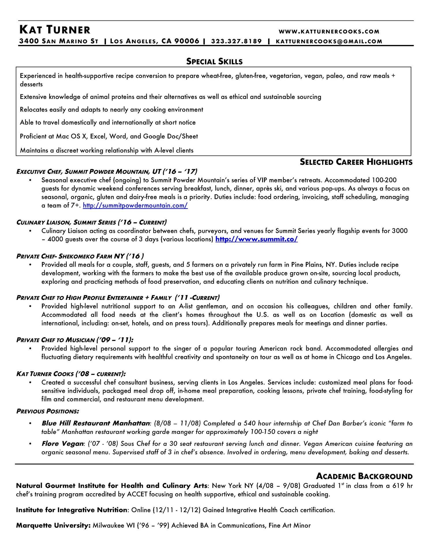 Resume KAT TURNER COOKS