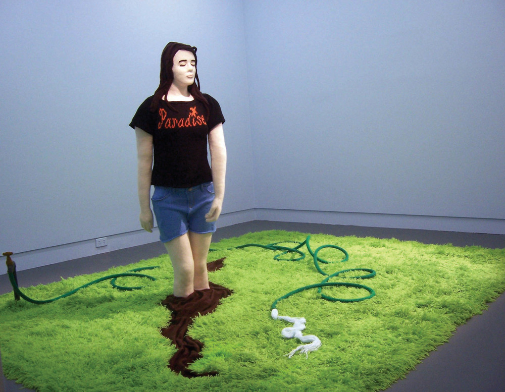 Kate Just, Paradise, 2006 Wool, acrylic, clay, fibreglass, plastic, metal, glue 90 x 260 x 300cm. Ararat Regional Gallery Collection Documentation: Kate Just
