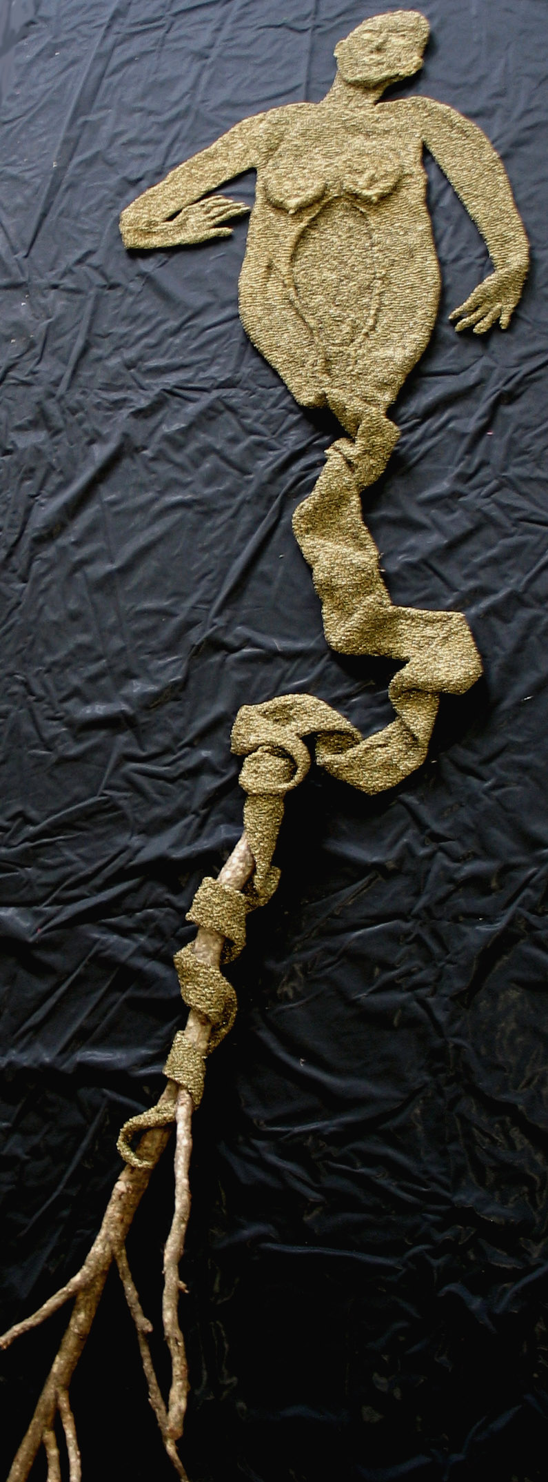 Kate Just, Shed That Skin, 2008 Metallic thread, found branch 350 x 80 x 5cm Documentation: Kate Just
