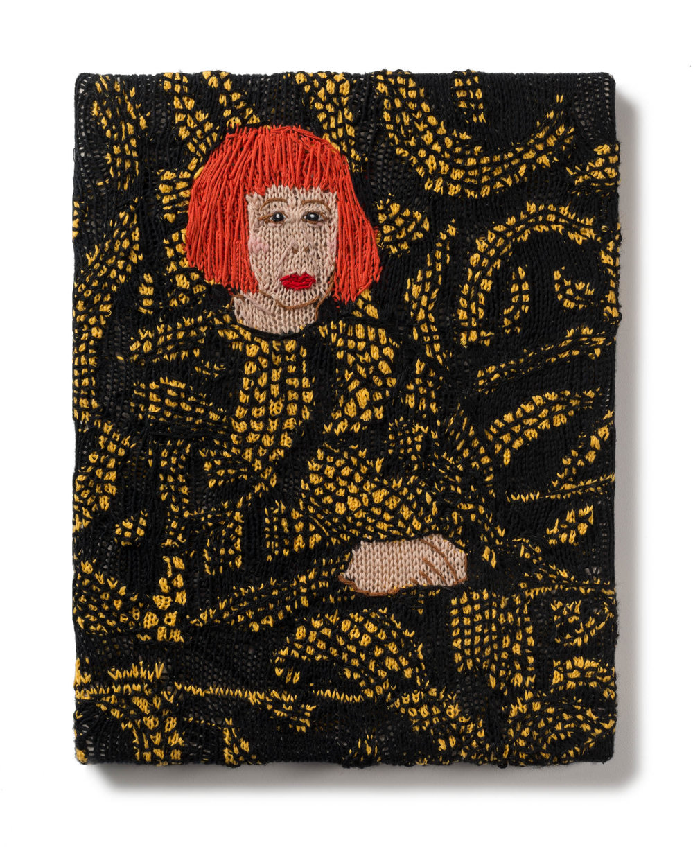 Kate Just, Feminist Fan #29 (Yayoi Kusama, Yayoi Kusama in Yellow Tree Furniture Room at Aich Triennale, Nagoya Japan, 2010), 2016