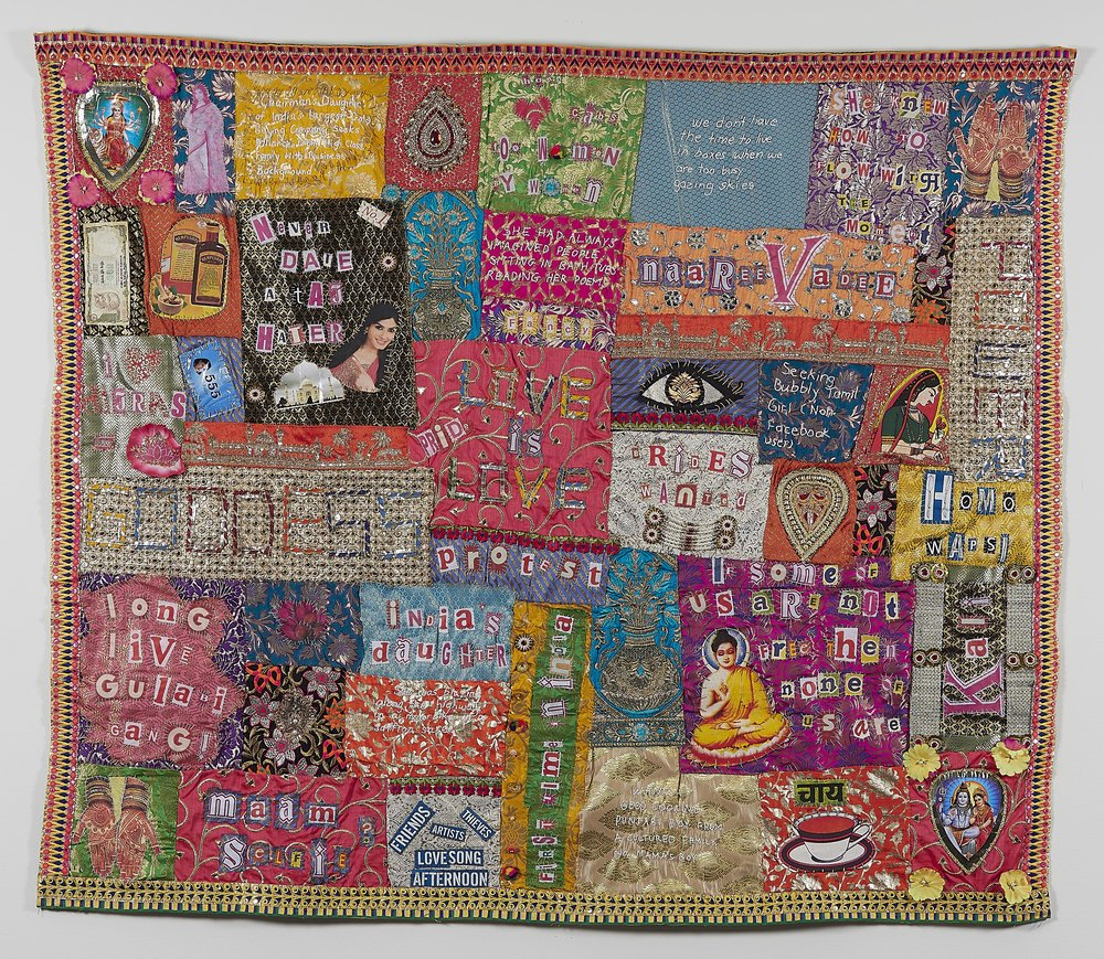Kate Just, Aadambar Strivadi Quilt, 2016 Hand stitched cotton, silk and synthetic fabrics, cardboard, plastic, beads. 145 x 168cm