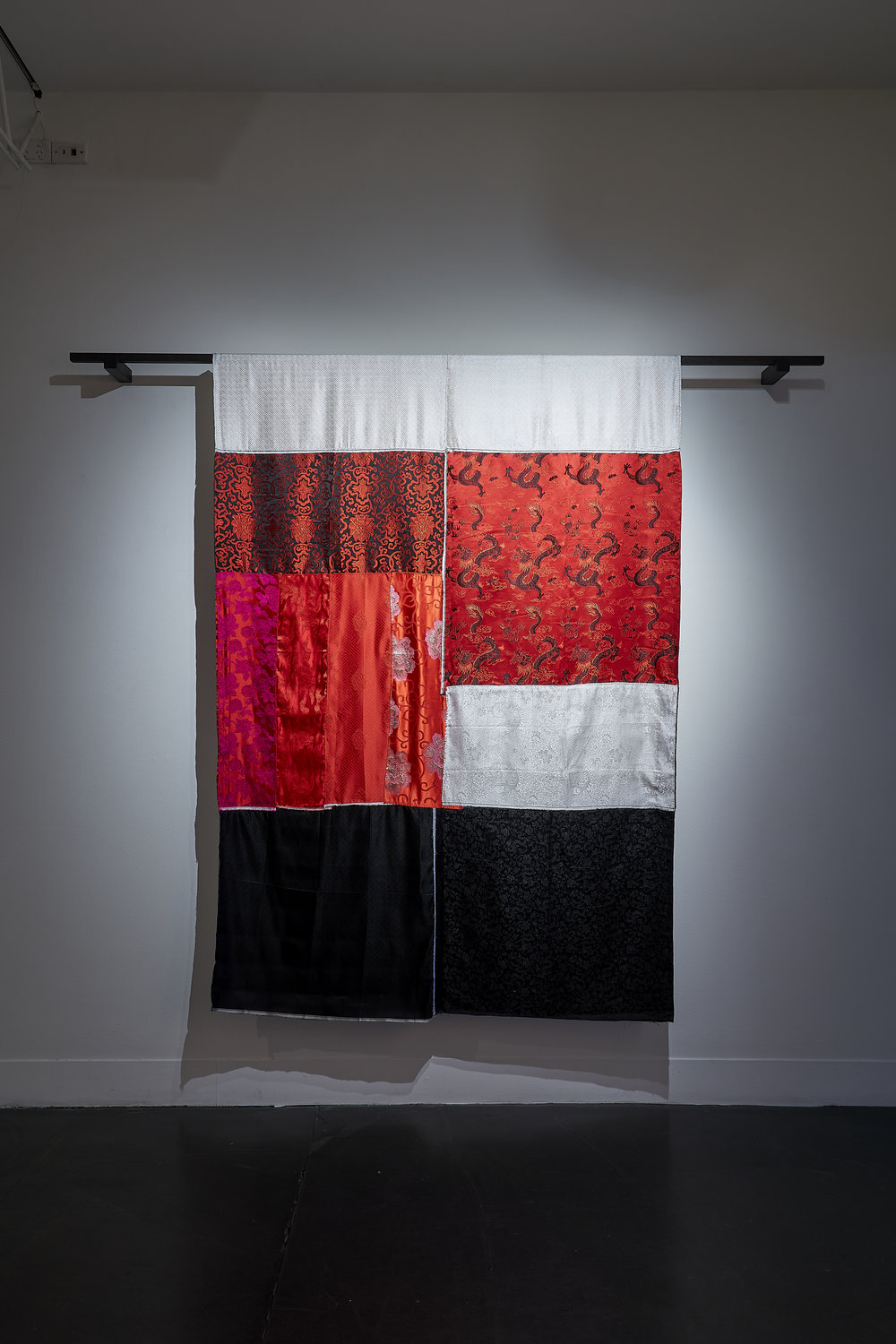 In the Mood for Love, 2019 Hand and machine stitched brocade fabric, timber. Photo: Sam Roberts