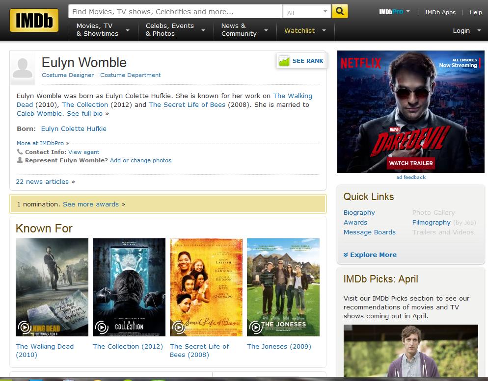 Eulyn Womble - Costume Designer - IMDB.com page