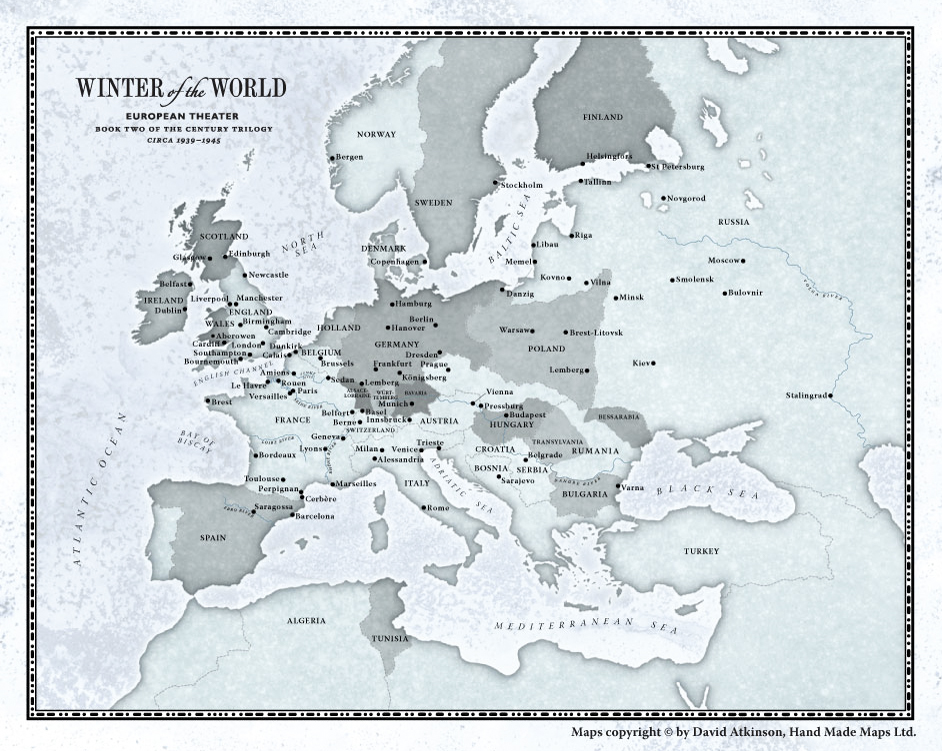 Map by David Atkinsom from Winter of the Wold.