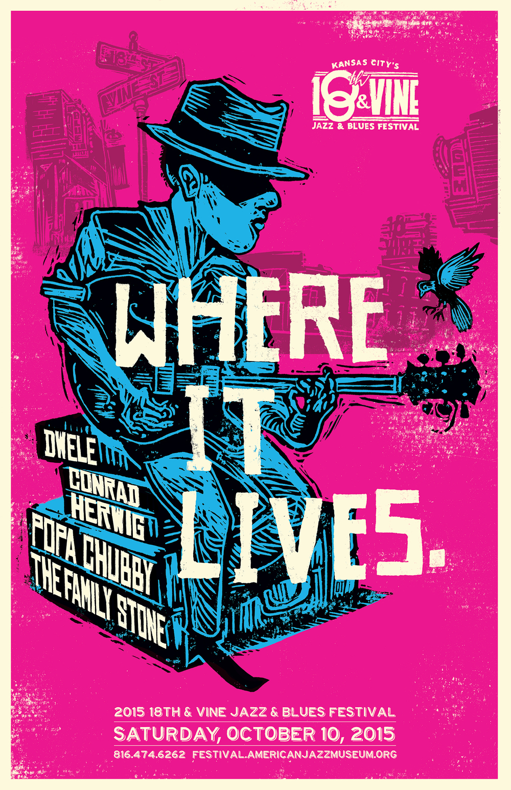 "Mixed Media, Lino block cut with digital finish 22""x 34"" Annual poster advertising the 18th & Vine Jazz Fest benefitting the American Jazz Museum located in the historic 18th & Vine Jazz district in Kansas City Missouri."