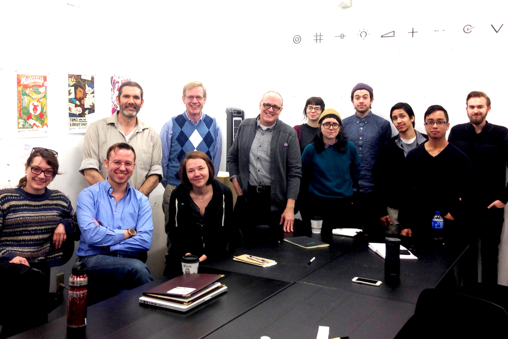 The MICRO class, Spring 2015, with our clients from the Coterie Theatre. From left to right; Rosie Ruzicka, R. T. Smith, David Terrill, David Goldstein, Marketing Director, Coterie Theatre, Kendall Quack, Jeff Church, Producing Artistic Director, Kelsey Borsch, Kelsey Wroten, Spencer Pullen, Salvador Carrasco, JC Franco and Kristopher Martin.