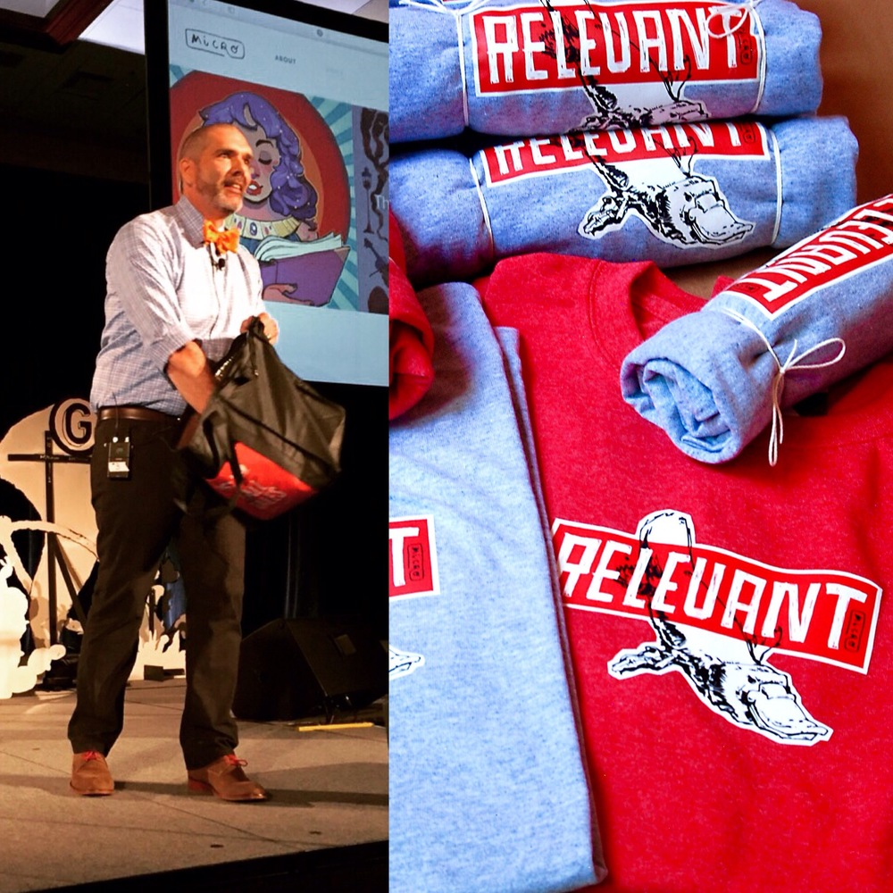 Tossing out a few t-shirts after my talk.