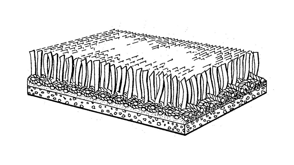 "The carpet-like uniformity and unnaturally simulated quality of the original AstroTurf (initially marketed as ChemGrass) patent drawing seems to come through in its obstinate refusal to fit neatly into any one category: Is it a carpet? Or is it a scrub brush? (   U.S. Patent No. 3,332,828   , ""Monofilament Ribbon Pile Product,"" James M. Faria & Robert T. Wright, issued July 25th, 1967)"