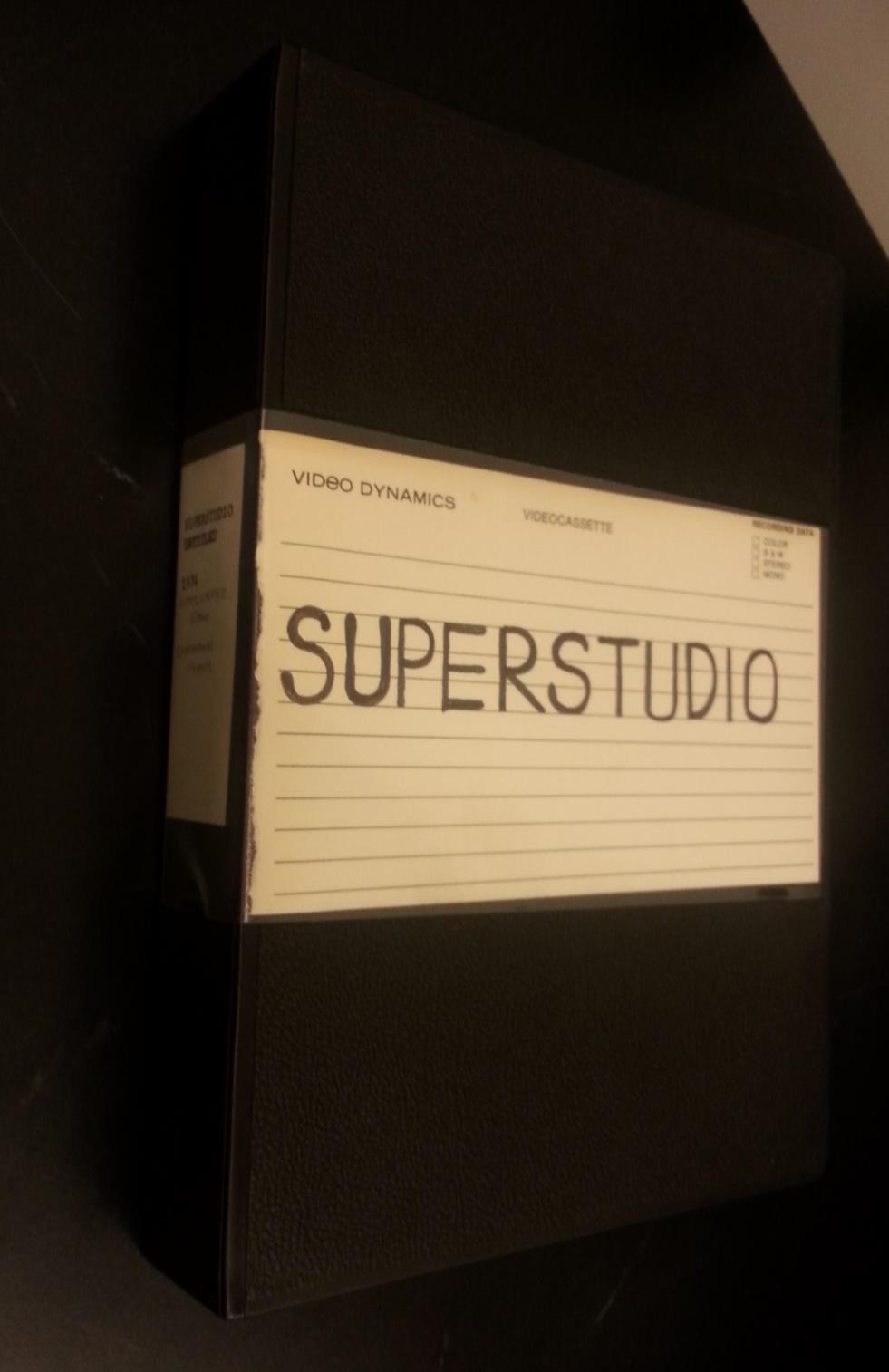 Fig. 2. Case of the U-matic videocassette of Superstudio. The Long Beach Museum of Art Video Archive, circa 1970-2000. 1972, the Getty Research Institute, 12 Feb. 2015.